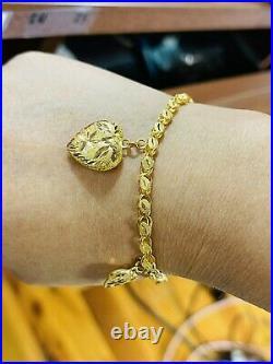 21K Yellow Gold 875 Fine Damascus Heart Womens Bracelet Fits 7 11.17g 4-16mm