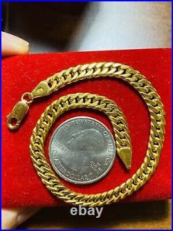 21K Yellow Gold Fine Mens Womens Cuban Bracelet 8 Long 8.3g 6mm Wide Fast-ship