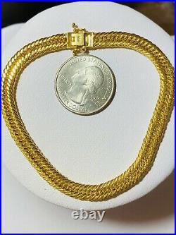 21K Yellow Gold Fine Mens Womens Cuban Bracelet 8 Long 9.8g 6mm Wide Fast-ship