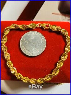 21K Yellow Gold Fine Rope Womens Bracelet Fits 7 Will Fits S/m 5mm
