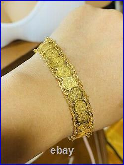 21k 875 Fine Solid Gold Real Womens Coin Bracelet 8 Long 14mm 9.3g Fast Ship