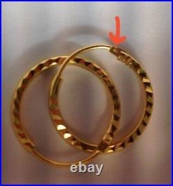 21k Gold Hoop Earrings UAE Elegant Jewelry 5/8 D. Very pretty