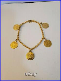 21k Yellow Gold Coin Charm Bracelet Not Scrap