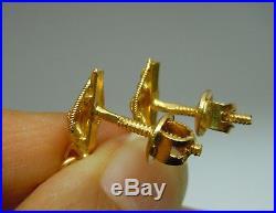 21k gold earrings HAND MADE drop dangle post with screwbacks (22k 23k 24k)