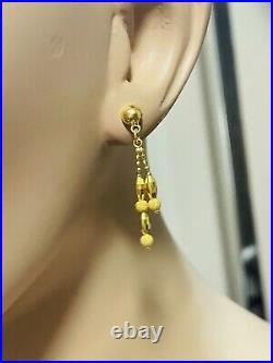 22C Fine 916 Saudi Real Fine Gold Beautiful Women's Set Dangle Earring 1.1 3.6g