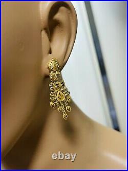 22C Fine 916 Saudi Real Fine UAE Gold Women's Dangle Set Earring 1.6 Long 3.6g