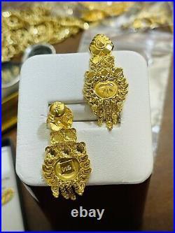 22C Fine 916 Saudi Real Fine UAE Gold Women's Dangle Set Earring 1.6 Long 4.03g