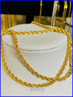 22Carat Gold Mens Rope Necklace With 26 Long 4mm USA Seller