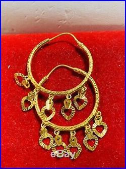 22Ct 916 Fine Saudi Gold Women's Hoops Dangle Heart Earring 3.66g Fast Shipping