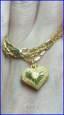 22K 916 Fine Yellow Gold Chain Necklace Puff Heart Pendant 18 2 mm 11 gramms