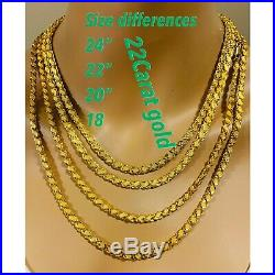 22K 916 Fine Yellow Gold Damascus Mens Necklace With 24 Long 5mm USA Seller