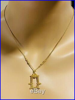 22K 916 Fine Yellow Gold Real Womens Necklace With 20 Long 2mm USA Seller