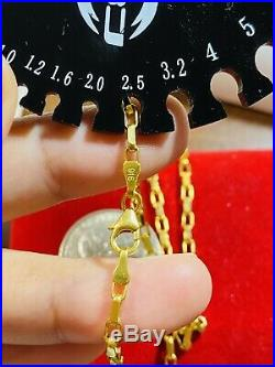 22K 916 Fine Yellow Gold Womens Box Chain Necklace With 18 2.5mm