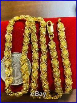 22K 916 Fine Yellow Gold Womens Damascus Necklace With 20 5.5mm USA Seller 11g
