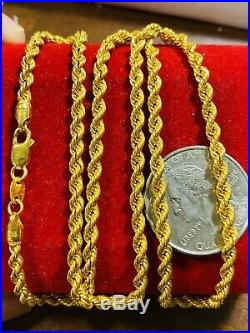 22K 916 Fine Yellow Gold Womens Rope Necklace With 20 3.2mm USA Seller 7.15g