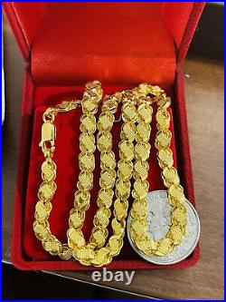 22K 916 Fine Yellow Real Gold 20 Long Womens Damascus Necklace 12.61g 5.5mm