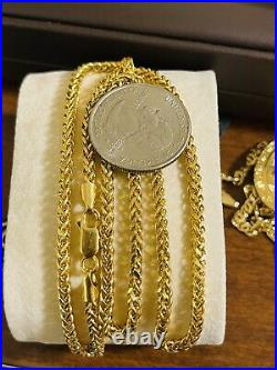 22K 916 Fine Yellow Real Gold 20 Long Womens Wheat Chain Necklace 3.2mm 9.55g