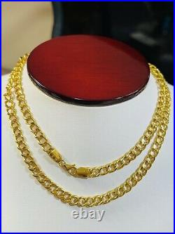 22K 916 Fine Yellow Real Gold 22 Mens Womens Curb Chain Necklace 11.96g 5mm