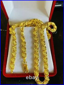 22K 916 Fine Yellow Real Gold 22Mens Womens Damascus Chain Necklace 15.5g 5.5mm