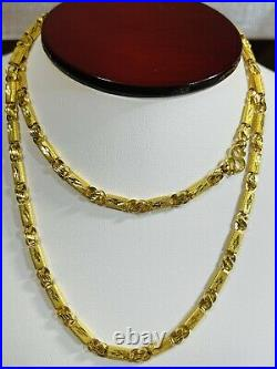 22K 916 Fine Yellow Real Gold Mens Baht Chain Necklace With 26 Long 13.62g 4mm