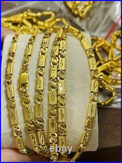 22K 916 Fine Yellow Real Gold Mens Baht Chain Necklace With 26 Long 13.97g 4mm