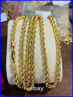 22K 916 Fine Yellow Real Gold Mens Unisex Rope Necklace With 26 4mm 14.56 grams