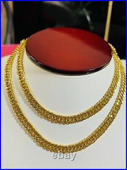 22K 916 Fine Yellow Real Gold Mens Womens Cuban Necklace 22 Long 5.5mm 19.02g