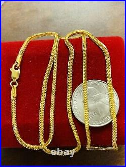 22K 916 Fine Yellow Real Gold Mens Womens Snake Necklace 22 Long 2.5mm 10.07g