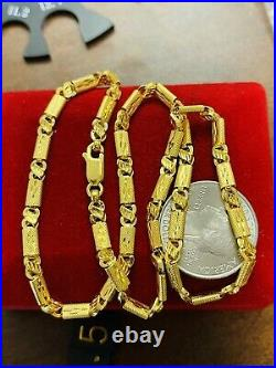 22K 916 Fine Yellow Real Gold Womens Baht Necklace With 16 Long 4mm 9.84 grams