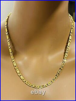 22K 916 Fine Yellow Real Gold Womens Baht Necklace With 20 Long 10.7g 4mm