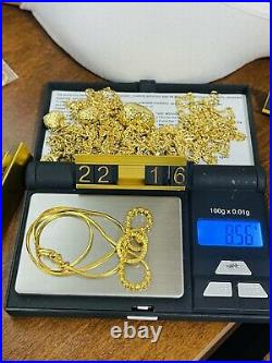 22K 916 Fine Yellow Real Gold Womens Ball Necklace With 16 Long 8.56grams 1.2mm
