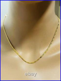 22K 916 Fine Yellow Real Gold Womens Flat Chain Necklace 18 Long 3.2mm 6.46g