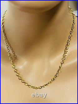 22K 916 Fine Yellow Real Gold Womens Rolo Chain Necklace 20 Long 6.8g 4mm Wide