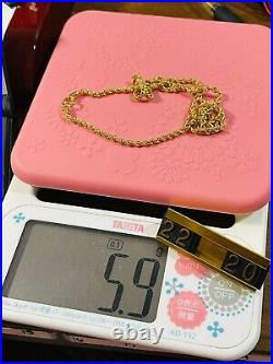 22K 916 Fine Yellow Real Gold Womens Rope Chain Necklace 20 Long 5.9g 3mm Wide