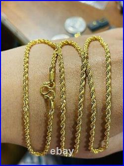 22K 916 Fine Yellow Real Gold Womens Rope Chain Necklace 22 Long 6.65g 3mm