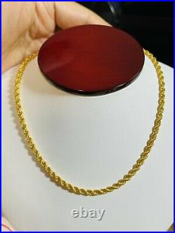 22K 916 Fine Yellow Saudi Gold 16 Long Womens Rope Chain Necklace 6.14g 3.2mm