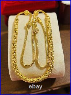 22K 916 Fine Yellow Saudi Gold 18 Long Beautiful Womens Necklace 14.8g 2/5mm