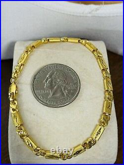 22K 916 Fine Yellow Saudi Gold 8 Long Mens Womens Baht Bracelet 4mm 5.25g 20cm