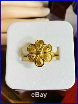 22K 916 Fine Yellow Saudi Gold Flower Womens Ring 7 USA Seller