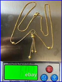 22K 916 Fine Yellow Saudi Gold Womens Ball Necklace With 18 long 1.6mm 6.03g