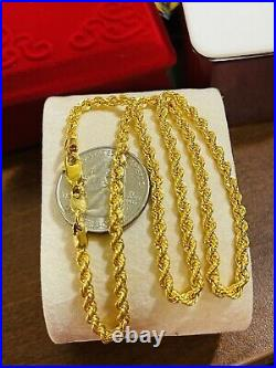 22K 916 Fine Yellow Saudi Gold Womens Rope Chain Necklace With 16 3.2mm 6.14g