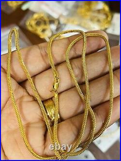 22K 916 Fine Yellow UAE Real Gold 20 Long Womens Snake Necklace 12.1g 2.5mm