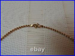 22K 916 Yellow 13.1 gm Gold Baht Chain Womens Bead Necklace 17 7/8
