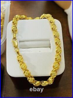 22K 916 Yellow Fine Saudi Gold 8 Mens Womens Damascus Bracelet 5mm 5.86grams