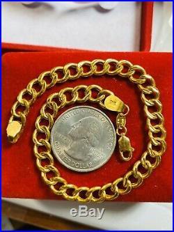 22K 916 Yellow Gold Fine Mens Bracelet Fits 8.5 6.5mm USA Seller