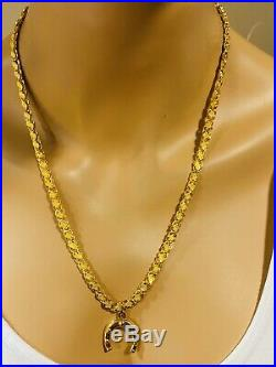 22K 916 Yellow Gold Mens Set Damascus Anchor Necklace With 22 Long 6mm USA Seller