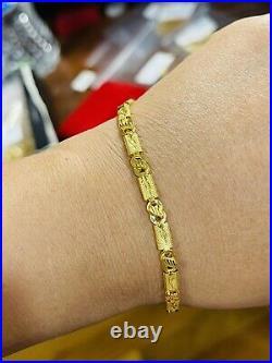 22K 916 Yellow Saudi Fine Gold 8.5 Long Mens Size Baht Bracelet 4mm 5.25 grams