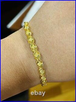 22K 916 Yellow Saudi Gold Fine 8.5 Long Mens Damascus Bracelet 5.5mm 6.59 Grams
