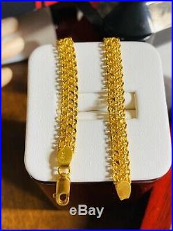 22K Fine 916 Solid Gold Mens Womens Bracelet 7.8 Long 6.5mm USA Seller
