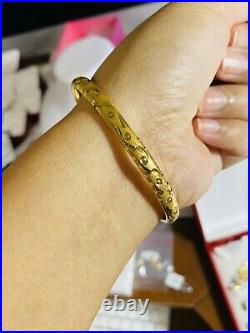 22K Fine 916 Solid Gold Real Womens Bangle Fits 20/21cm Large 6mm Wide 8.81g